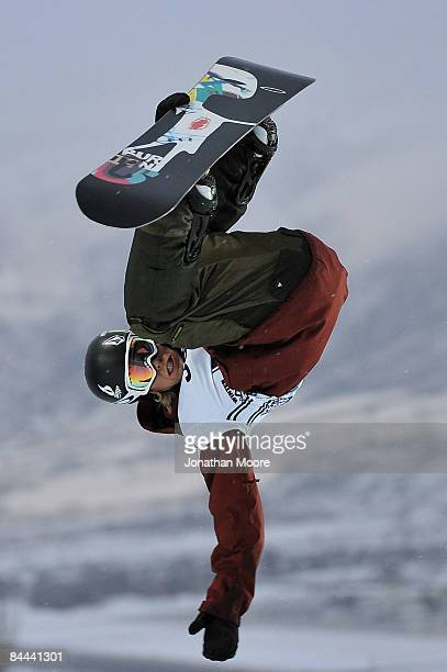 Kevin Pearce of Norwich Vermont practices before the Men's Snowboard Superpipe elimination during Winter X Games Day 3 on Buttermilk Mountain on...