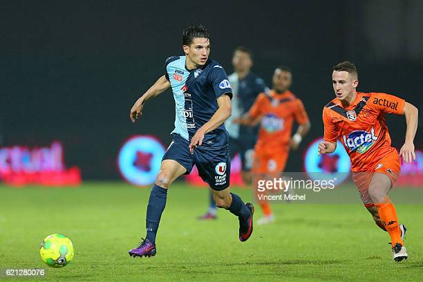 Kevin Perrot of Laval and Zinedine Ferhat of Le Havre during the Ligue 2 match between Stade Lavallois and Le Havre AC on November 4 2016 in Laval...