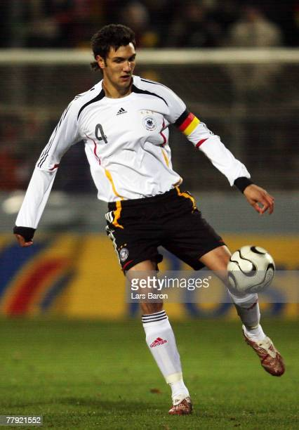 Kevin Pezzoni of Germany runs with the ball during the U19 international friendly match between Germany and England at the Waldstadium on November 14...