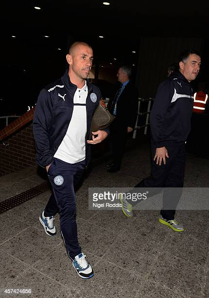 Kevin Philips of Leicester City arrives at the stadium prior to kickoff during the Barclays Premier League match between Newcastle United and...