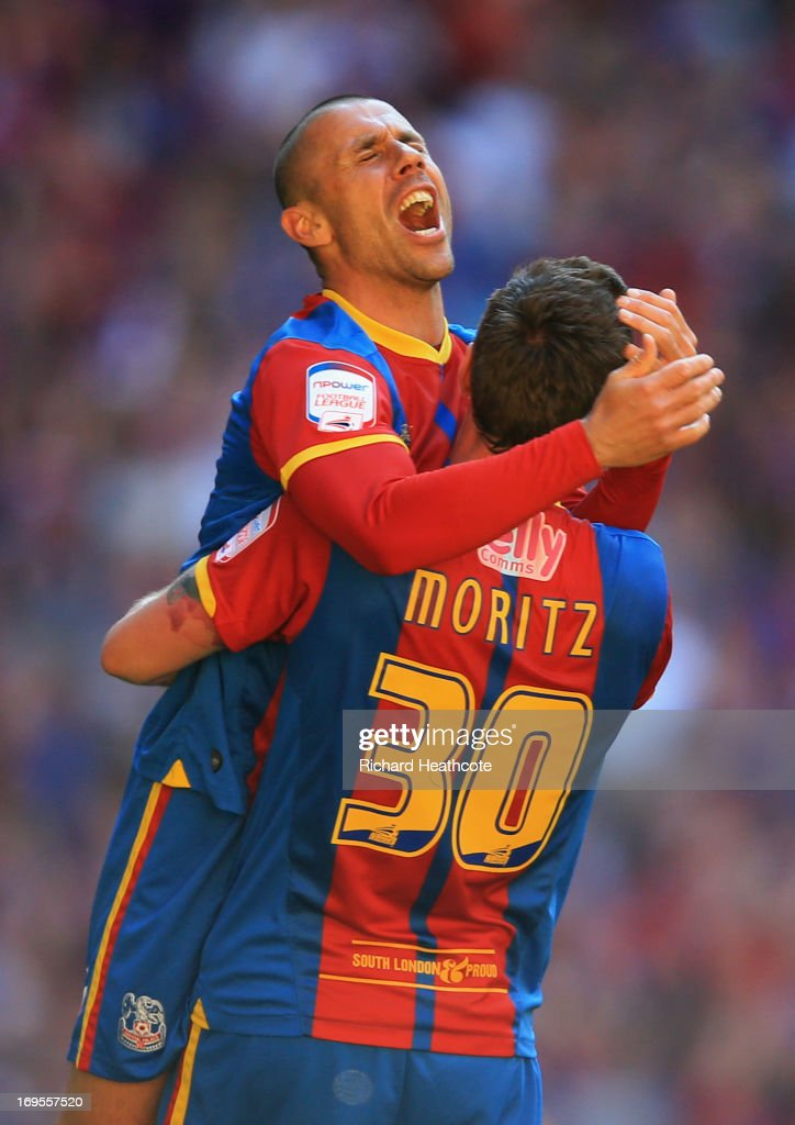 Kevin Phillips (L) and Andre Moritz of Crystal Palace celebrate victory after the npower Championship Play-off Final match between Watford and Crystal Palace at Wembley Stadium on May 27, 2013 in London, England.