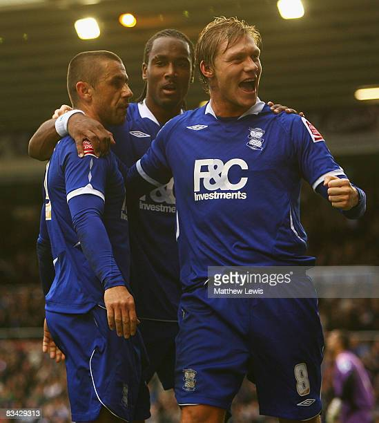 Kevin Phillips of Birmingham celebrates his goal with team mate Garry O'Connor during the Coca-Cola Championship match between Birmingham City and...