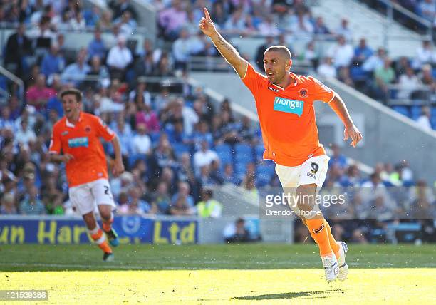 Kevin Phillips of Blackpool scores the equalising goal against Brighton Hove Albion during the npower Championship match between Brighton Hove Albion...