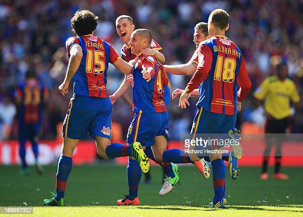 Kevin Phillips of Crystal Palace celebrates with team mates as he scores their first goal from the penalty spot during the npower Championship...