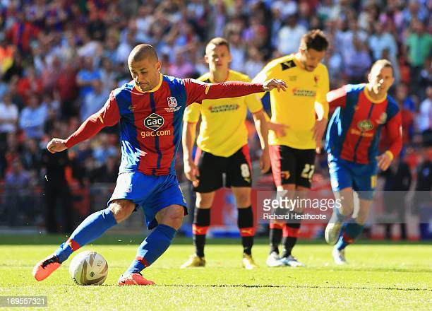 Kevin Phillips of Crystal Palace scores their first goal from the penalty spot during the npower Championship Play-off Final match between Watford...