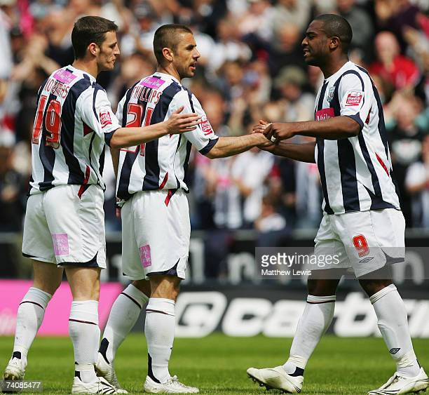 Kevin Phillips of West Bromwich celebrates his goal with Nathan Ellington during the Coca-Cola Championship match between West Bromwich Albion and...