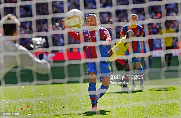 Kevin Phillips scores the winning penalty for Crystal Palace in the Crystal Palace versus Watford Championship Playoff Final at Wembley Stadium on...