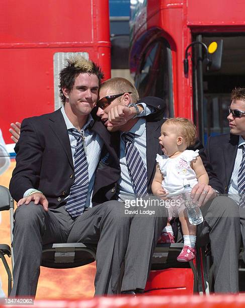 Kevin Pietersen and Andrew Flintoff during The England Cricket Team's Ashes Winning Celebrations Trafalgar Square Party at Trafalgar Square in London...