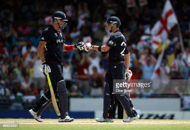 Kevin Pietersen and Craig Kieswetter of England touch gloves during the ICC World Twenty20 Super Eight match between England and South Africa at the...
