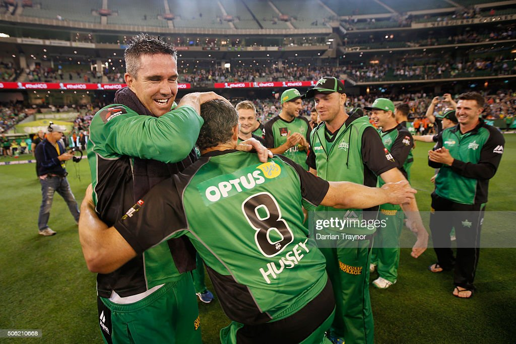 Kevin Pietersen and David Hussey of the Melbourne Stars embrace after winning the Big Bash League Semi Final match against the Perth Scorchers at Melbourne Cricket Ground on January 22, 2016 in Melbourne, Australia.