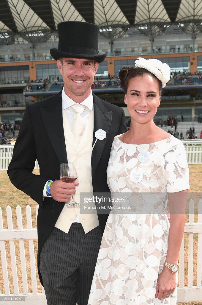 Kevin Pietersen and Jessica Taylor at the Winning Post Gardens on day 4 of Royal Ascot at Ascot Racecourse on June 23, 2017 in Ascot, England.