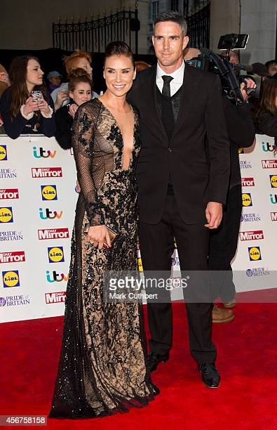 Kevin Pietersen and Jessica Taylor attend the Pride of Britain awards at The Grosvenor House Hotel on October 6 2014 in London England