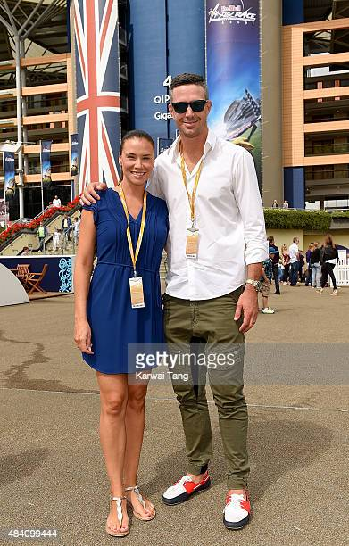 Kevin Pietersen and Jessica Taylor attend the Red Bull Air Race World Championships at Ascot Racecourse on August 15 2015 in Ascot England