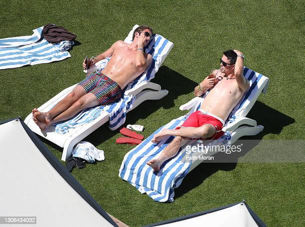 Kevin Pietersen and Liam Plunkett are seen relaxing by the hotel pool on October 5 2011, in Perth, Australia.