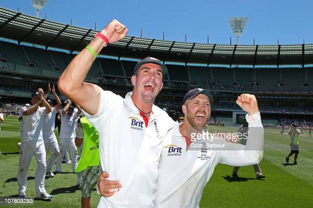 Kevin Pietersen and Matt Prior celebrate after winning the match during day four of the Fourth Test match between Australia and England at Melbourne...