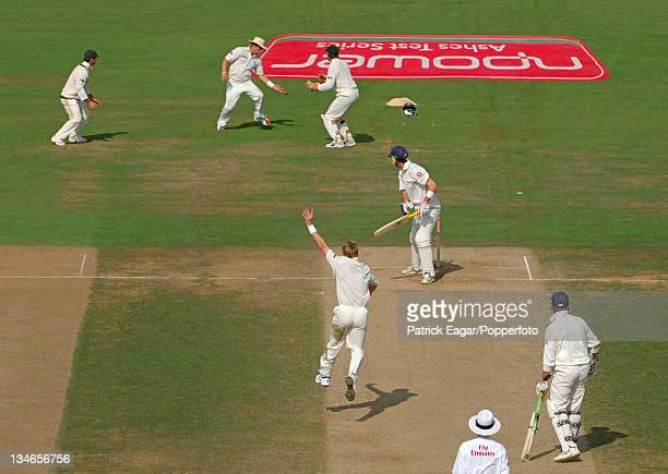 Kevin Pietersen edges a ball from Brett Lee to Shane Warne while on 15 Warne dropped the catch after a juggle and Pietersen went on to make 158...