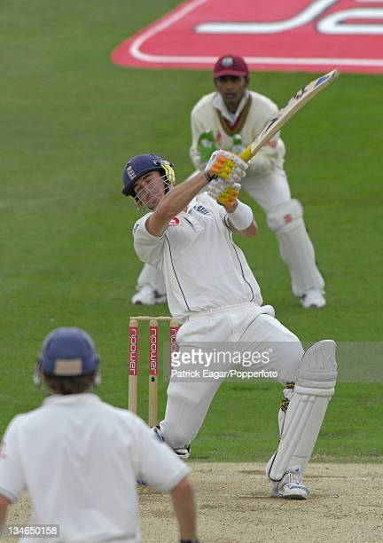 Kevin Pietersen has a huge swipe at Dwayne Bravo and is caight by Jerome Taylor for 226 England v West Indies 2nd Test Headingley May 07