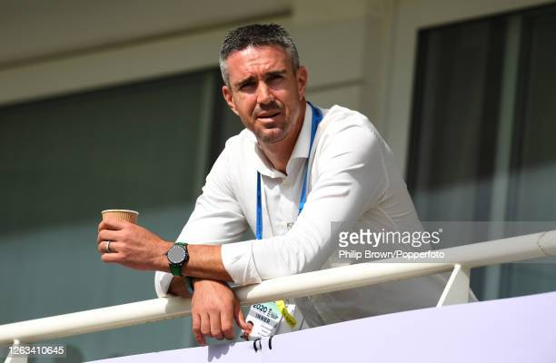 Kevin Pietersen looks on from a hotel balcony during the second One Day International between England and Ireland at the Ageas Bowl on August 01,...