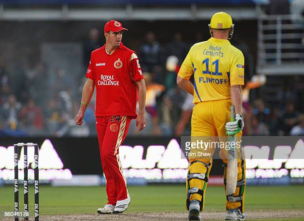 Kevin Pietersen of Bangalore in action with Andrew Flintoff of Chennai during IPL T20 match between Chennai Super Kings and Royal Challengers...
