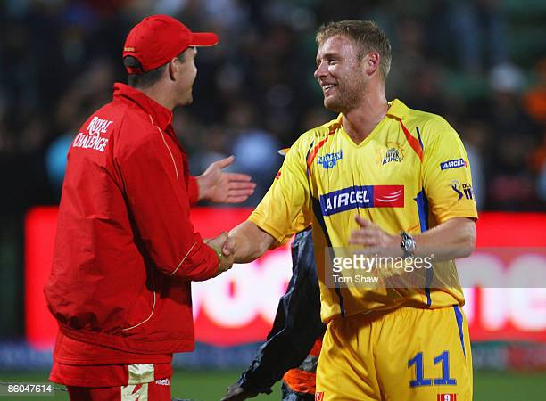 Kevin Pietersen of Bangalore shakes the hand of Anddrew Flintoff of Chennai during IPL T20 match between Chennai Super Kings and Royal Challengers...