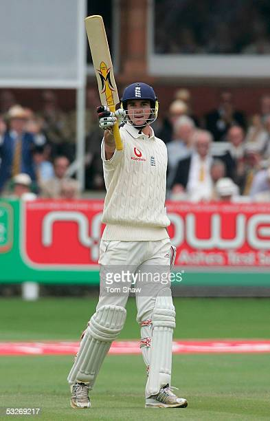 Kevin Pietersen of England acknowledges his half century during day two of the first npower Ashes Test match between England and Australia at Lord's...