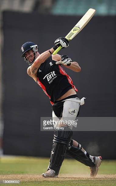 Kevin Pietersen of England bats during a nets session at Eden Gardens on October 28 2011 in Kolkata India