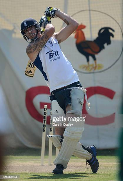 Kevin Pietersen of England bats during a nets session at Sardar Patel Stadium on November 13 2012 in Ahmedabad India