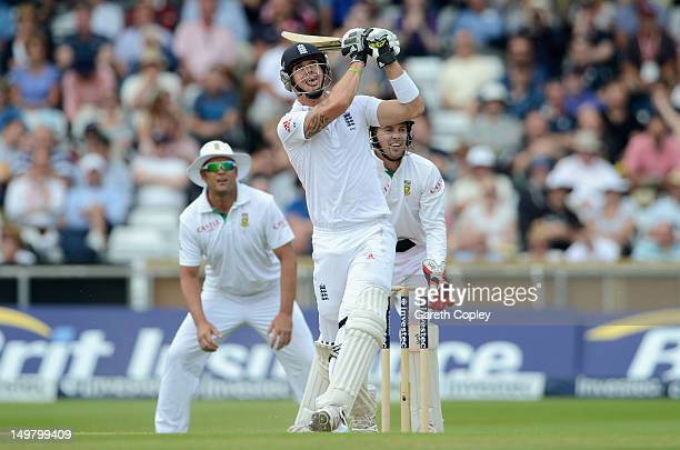 Kevin Pietersen of England bats during day three of the 2nd Investec Test match between England and South Africa at Headingley on August 4 2012 in...