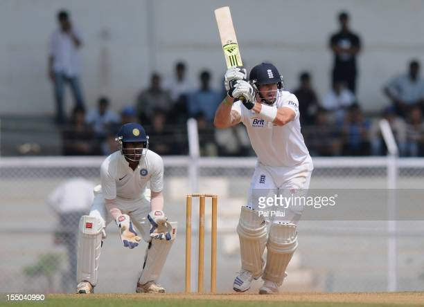 Kevin Pietersen of England bats during the second day of the opening tour match between India 'A' and England at the CCI ground on October 31, 2012...