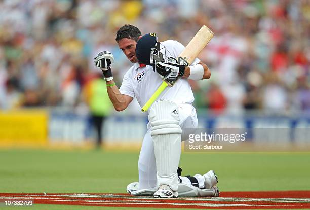 Kevin Pietersen of England celebrates after reaching his double century during day three of the Second Ashes Test match between Australia and England...