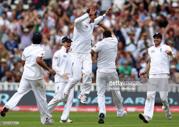 Kevin Pietersen of England celebrates catching out Shanthakumaran Sreesanth of India off the bowling of team mate Tim Bresnan to secure victory...