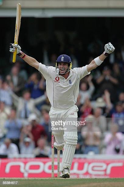 Kevin Pietersen of England celebrates his century during day five of the fifth npower Ashes Test match between England and Australia at the Brit Oval...