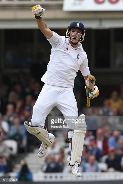 Kevin Pietersen of England celebrates his century during day two of the 4th npower Test Match between England and South Africa at The Brit Oval on...