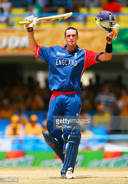 Kevin Pietersen of England celebrates his century during the ICC Cricket World Cup Super Eights match between Australia and England at the Sir Vivian...