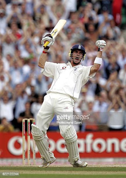 Kevin Pietersen of England celebrates his maiden test century during day five of the Fifth npower Ashes Test between England and Australia played at...