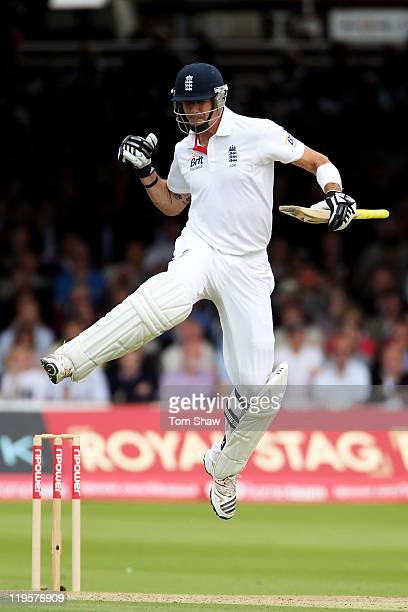 Kevin Pietersen of England celebrates hitting 100 during day two of the 1st npower Test Match between England and India at Lord's Cricket Ground on...