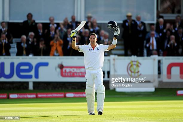 Kevin Pietersen of England celebrates hitting 200 during day two of the 1st npower Test Match between England and India at Lord's Cricket Ground on...