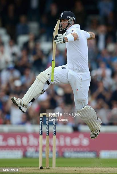 Kevin Pietersen of England celebrates reaching his century during day three of the 2nd Investec Test match between England and South Africa at...