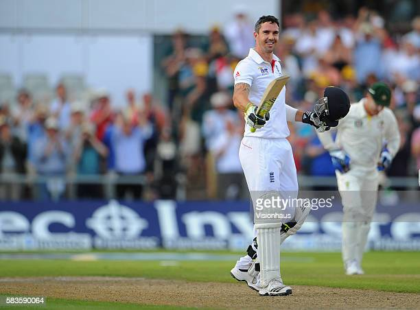 Kevin Pietersen of England celebrates reaching his century during Day Three of the 3rd Investec Ashes Test between England and Australia at Old...