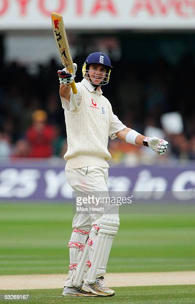 Kevin Pietersen of England celebrates scoring 50 runs during day two of the first npower Ashes Test match between England and Australia at Lord's on...