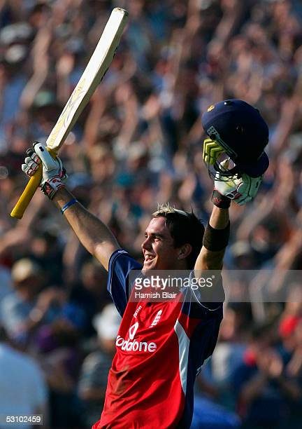 Kevin Pietersen of England celebrates the winning runs during the NatWest Series One Day International between England and Australia played at the...