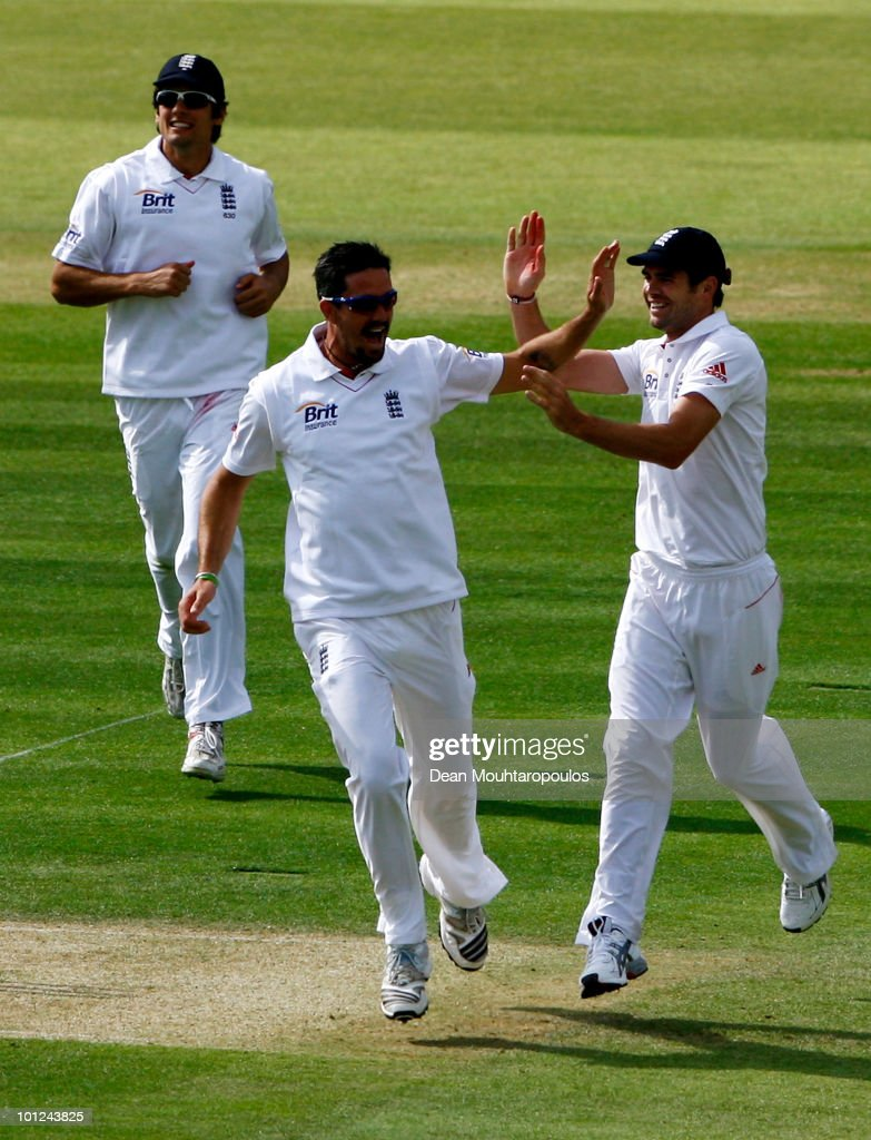 Kevin Pietersen of England celebrates with team mates as he runs out Tamim Iqbal of Bangladesh with a direct hit during day 2 of the 1st npower Test between England and Bangladesh played at Lords on May 28, 2010 in London, England.
