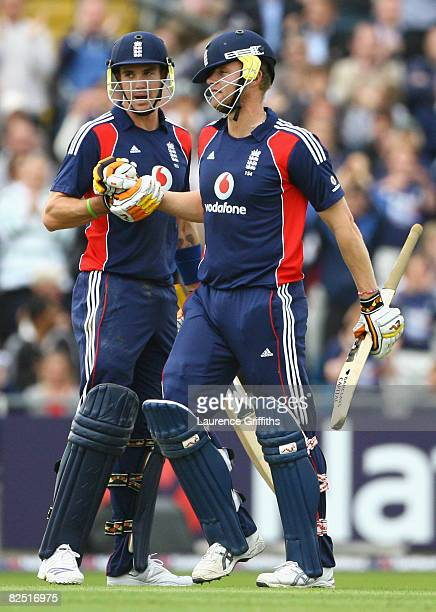 Kevin Pietersen of England congratulates team mate Andrew Flintoff during the First NatWest Series One Day International match between England and...