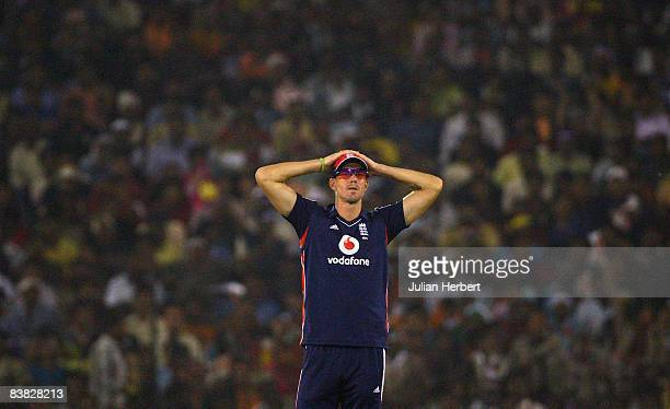 Kevin Pietersen of England contemplates in the field during the 5th One Day International between India and England played at The Barabati Stadium on...