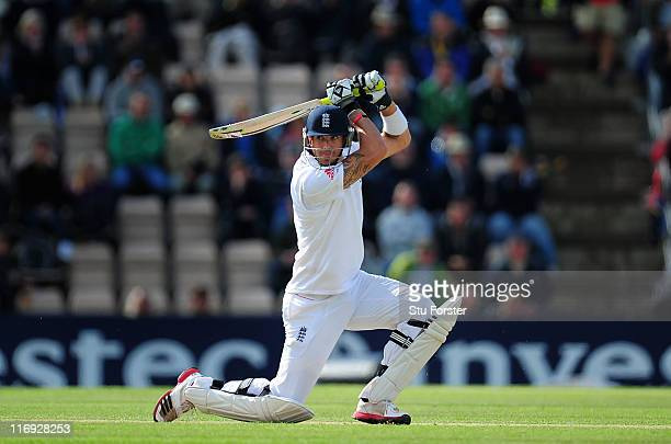 Kevin Pietersen of England cuts a ball to the boundary during day three of the 3rd npower Test Match between England and Sri Lanka at the Rose Bowl...