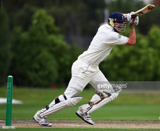 Kevin Pietersen of England drives during day two of the warm up match between a New Zealand Invitational XI and England at the University Oval on...