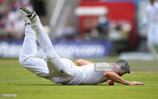 Kevin Pietersen of England fields the ball during day one of the 3rd Investec Ashes Test match between England and Australia at Old Trafford Cricket...