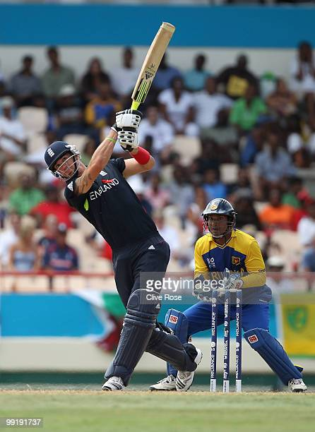 Kevin Pietersen of England hits a six during the semi final of the ICC World Twenty20 between England and Sri Lanka at the Beausjour Cricket Ground...