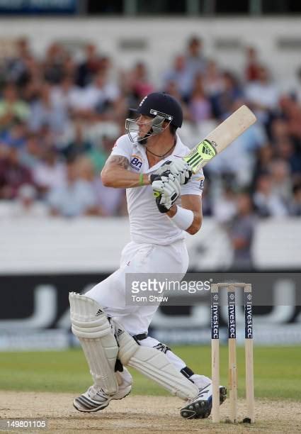 Kevin Pietersen of England hits out during day 3 of the 2nd Investec Test Match between England and South Africa at Headingley on August 4 2012 in...