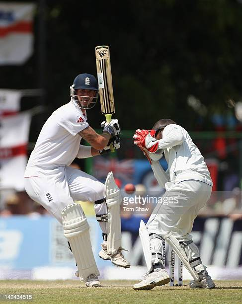 Kevin Pietersen of England hits out during day 3 of the 2nd test match between Sri Lanka and England at the P Sara Stadium on April 5, 2012 in...